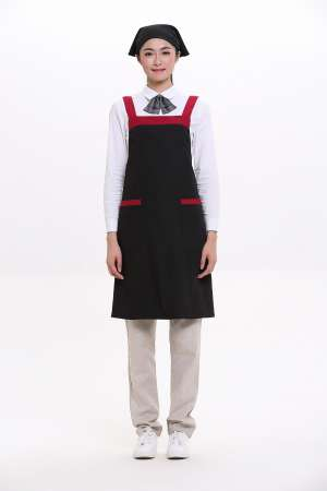 2017新款酒店餐饮服务员餐厅工作服工衣黑色广告围裙定做